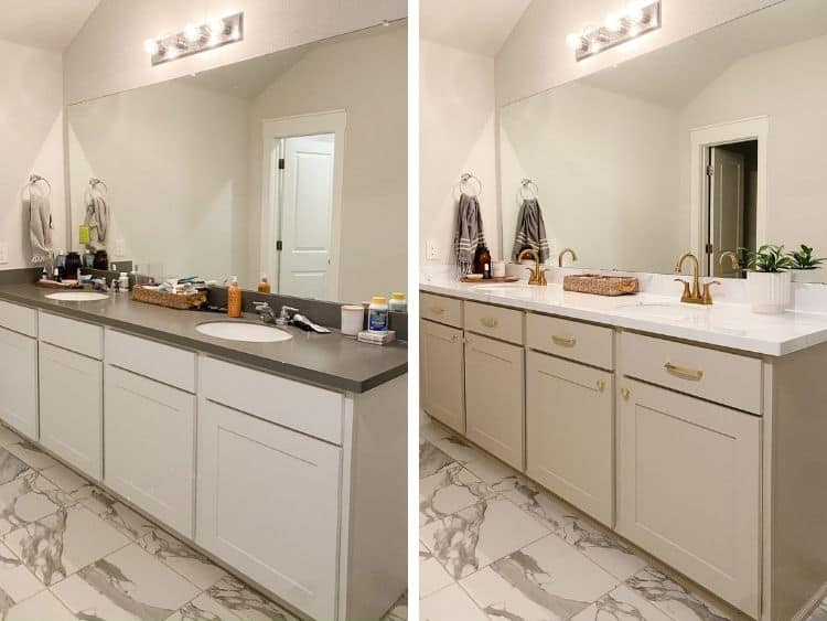 before and after of painted vanity