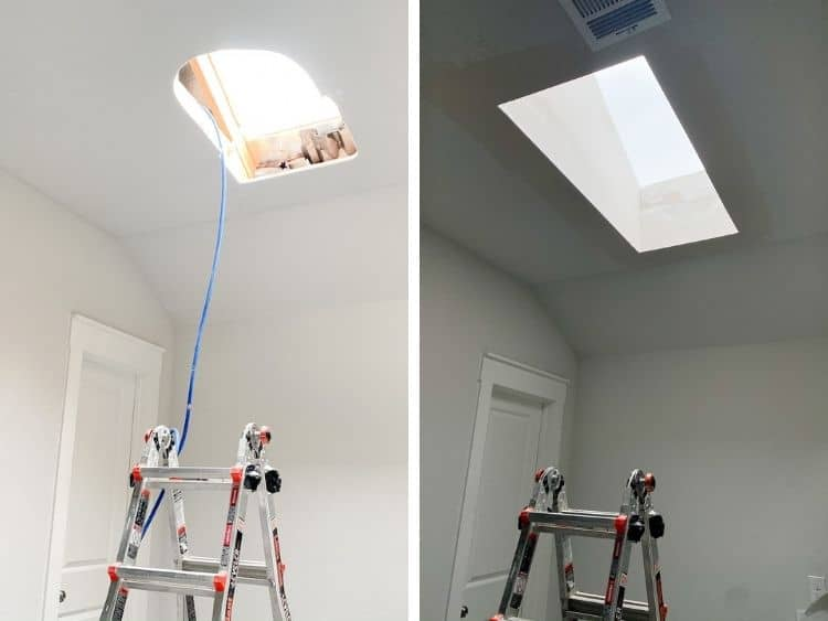 side by side image of skylight installation