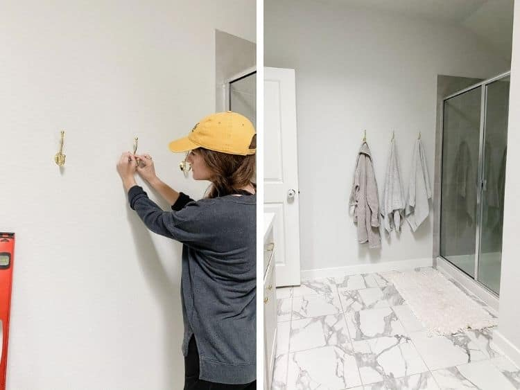 side by side collage of a woman hanging a bathroom towel hook with the completed image
