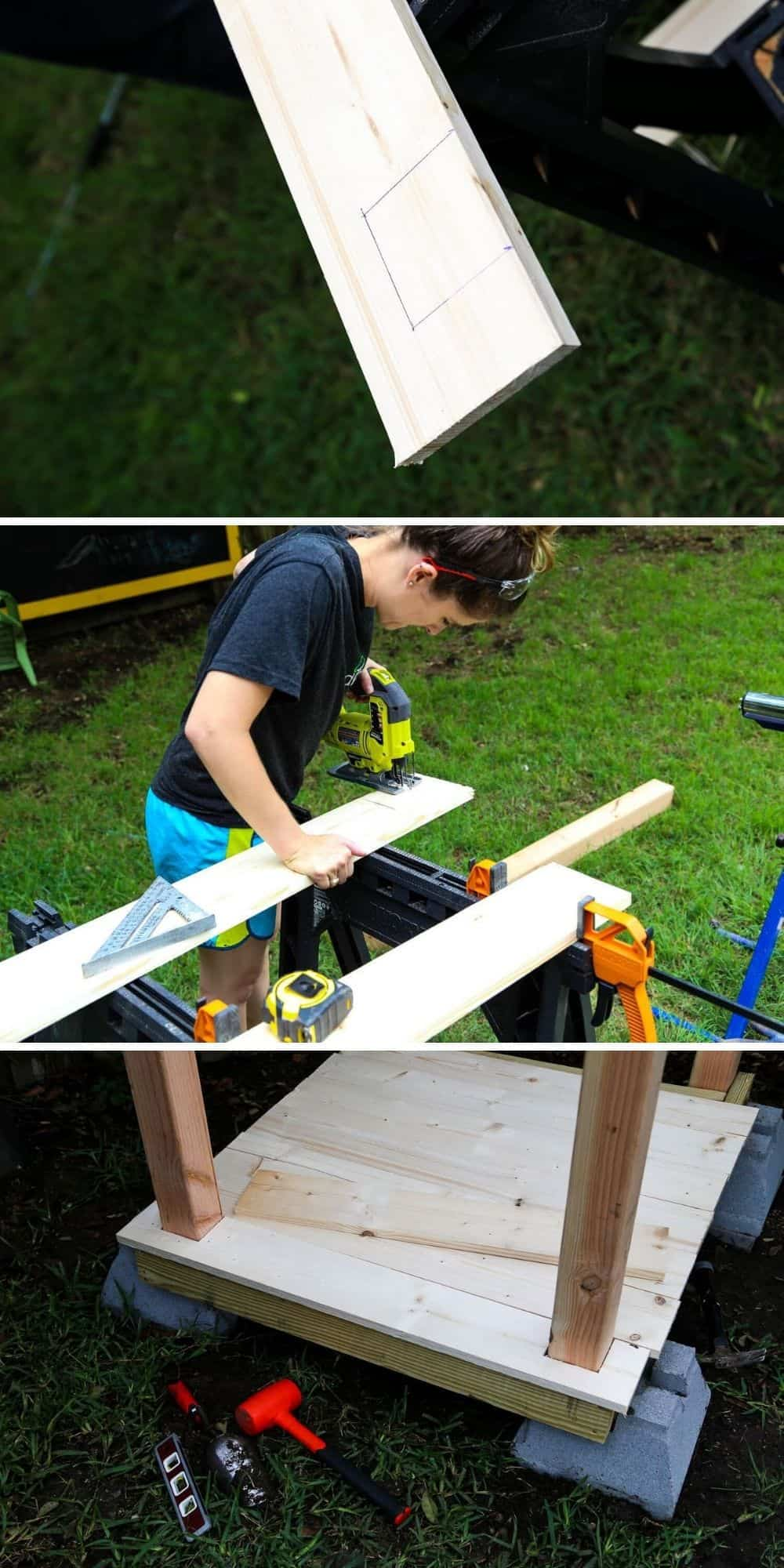 collage of close up images of a woman installing flooring in a DIY outdoor playhouse