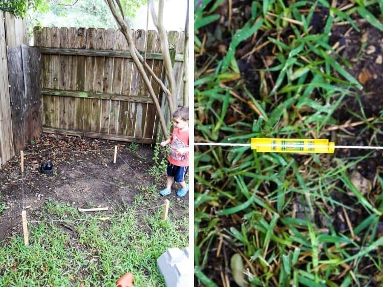 collage of planning for DIY backyard fort