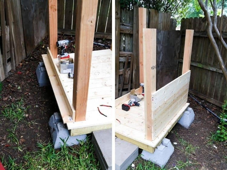 two images of walls being installed on backyard playhouse