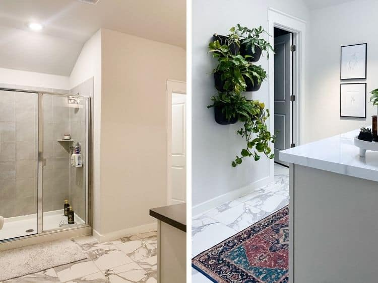 before and after of master bathroom budget makeover