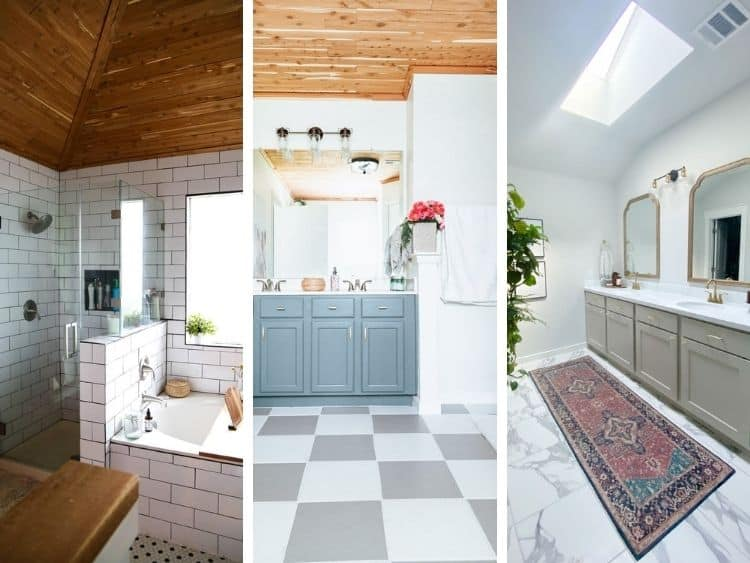 three images of bathrooms