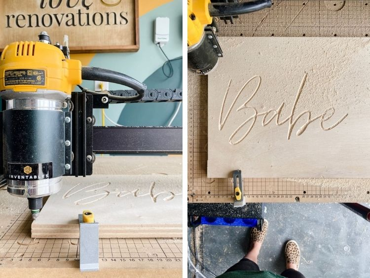 two side by side images of a DIY neon sign being carved on an Inventables X-Carve