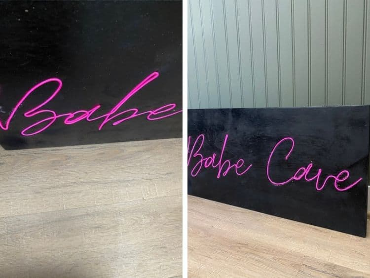 two close-up images of a DIY neon sign made with EL wire