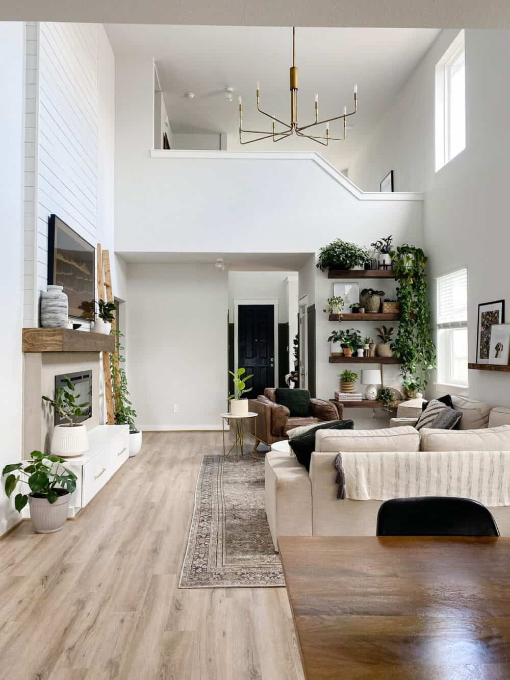 Neutral living room painted First Star by Sherwin Williams