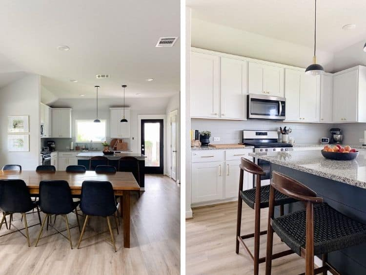 Side by side images of the color Sherwin Williams First Star in a dining room and kitchen