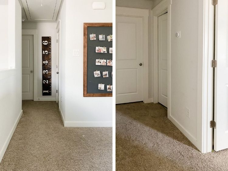 Two views of a hallway with minimal natural light, painted First Star by Sherwin Williams
