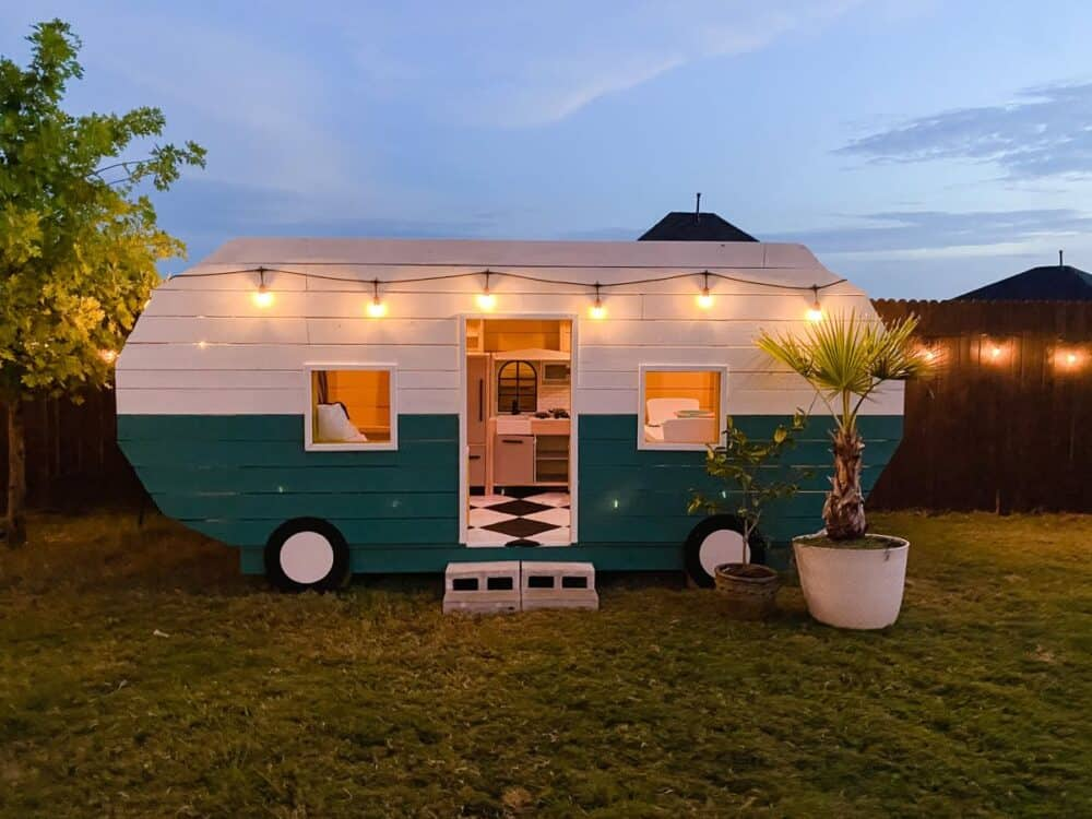 A vintage-style camper playhouse