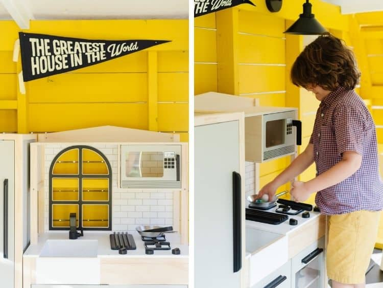 close up images of playhouse camper kitchen area