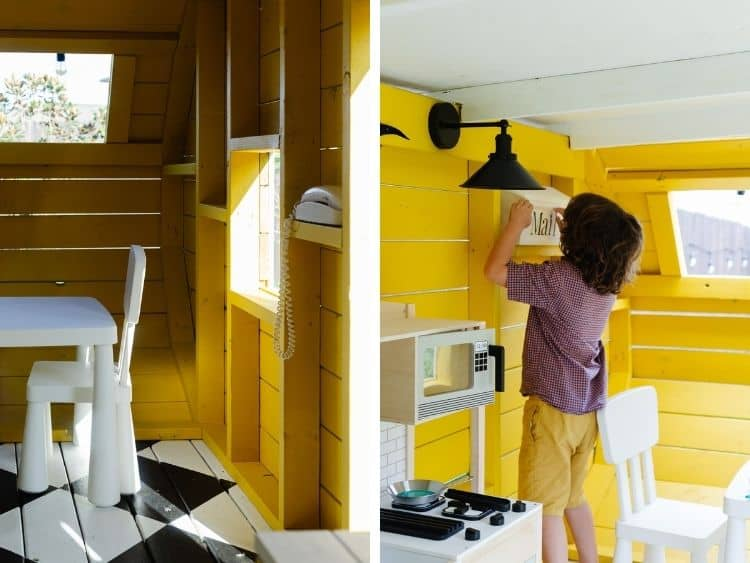 two side by side images of details of playhouse camper dining area