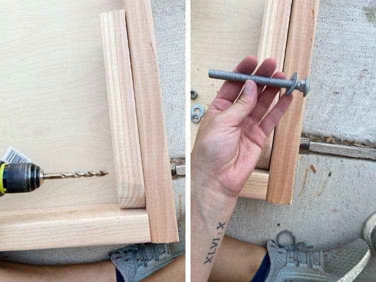 Two close up images of attaching legs to DIY cornhole boards