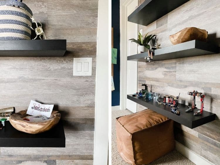 Two close-up images of vinyl wall planks on an accent wall