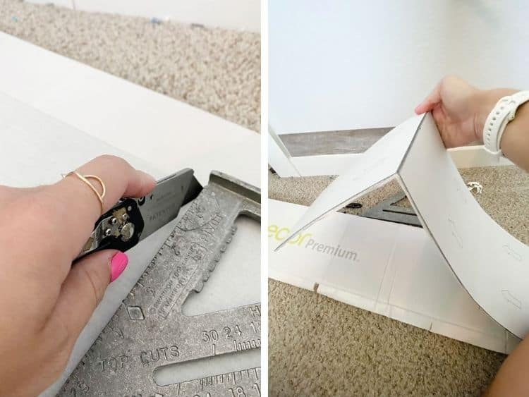 Collage of woman's hand cutting vinyl plank