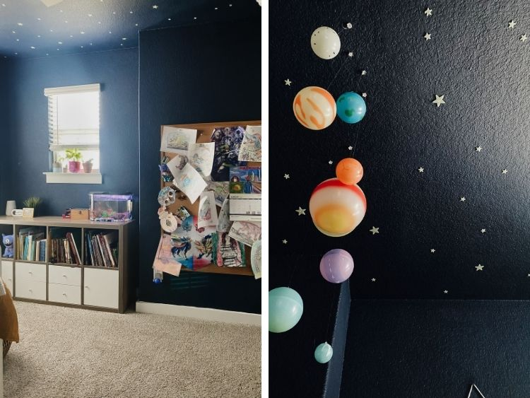 two side by side images of details of spaced themed boys bedroom