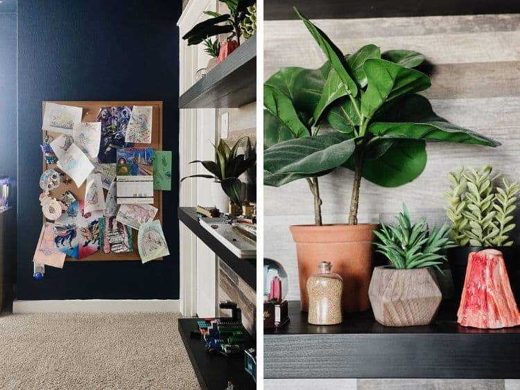 Two close up images of details in a boy's space themed bedroom
