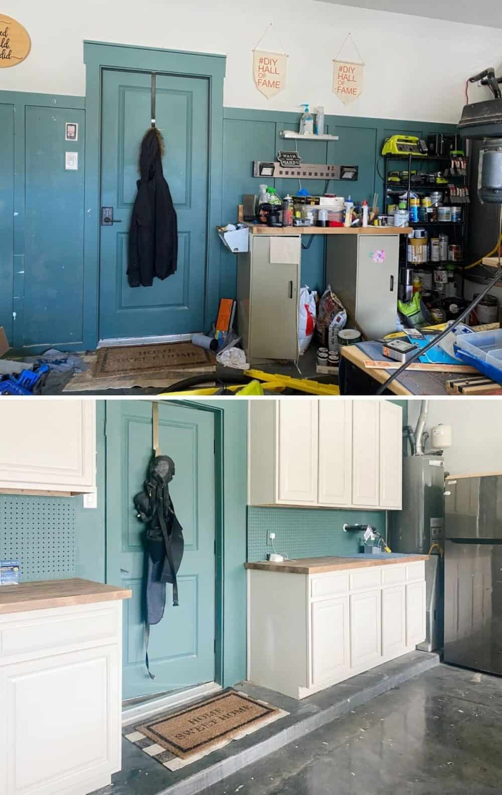 Before and after of garage cabinet storage