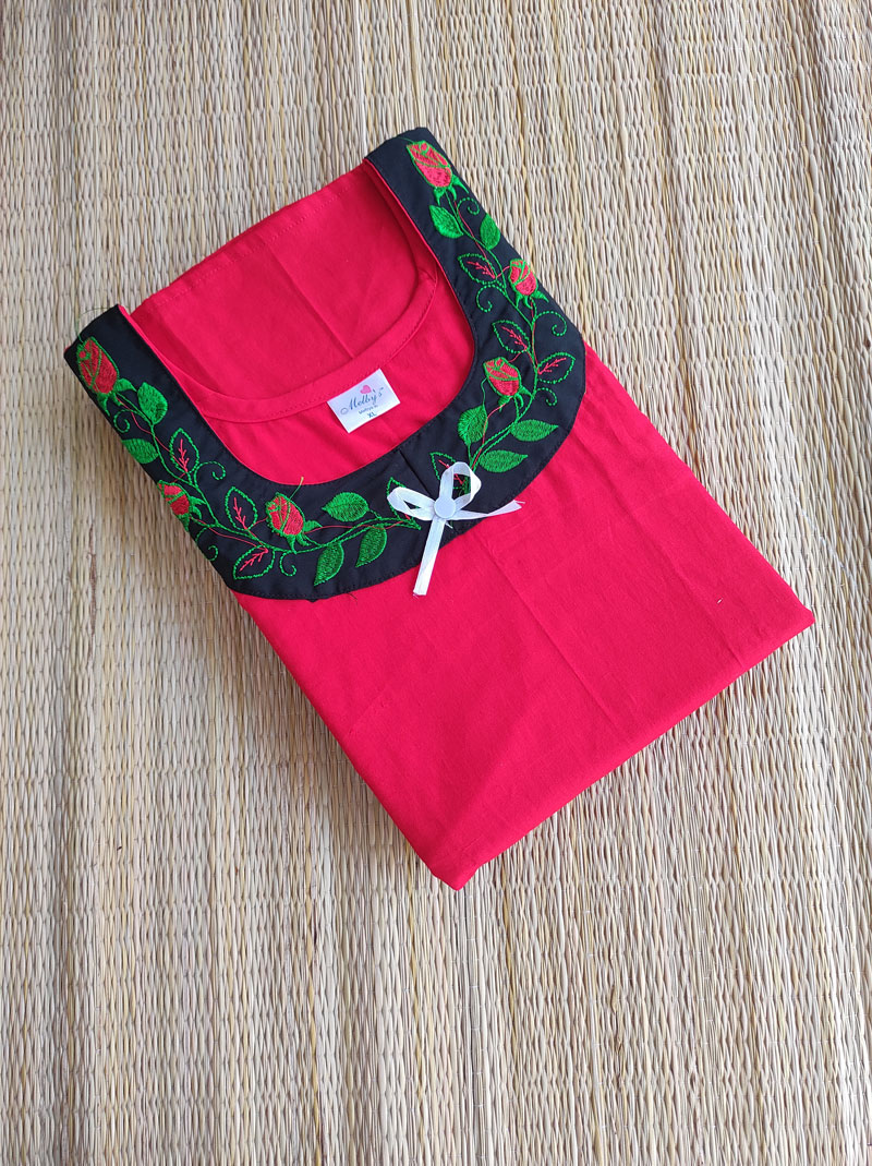 Embroidery nighty with red flowers and green leaves