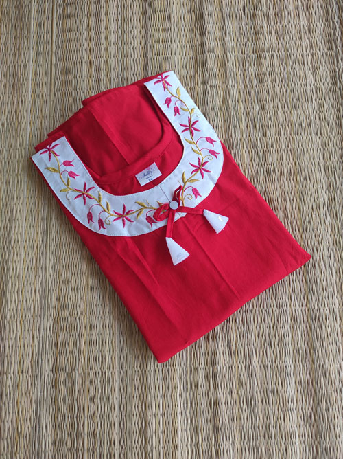 Red nighty with embroidery
