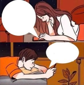 Boy and girl texting