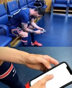 Lionel Messi Checking Phone PNG