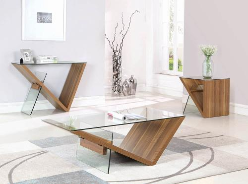 Wood And Glass Modern Coffee Table Miami Gallery Furniture