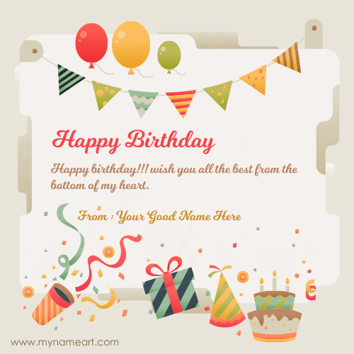 Friend Name Written On New Birthday Wishes Card Online