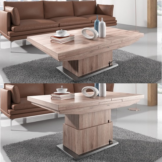 Elgin Extendable Coffee And Dining Table In Sonoma Oak Mysmallspace