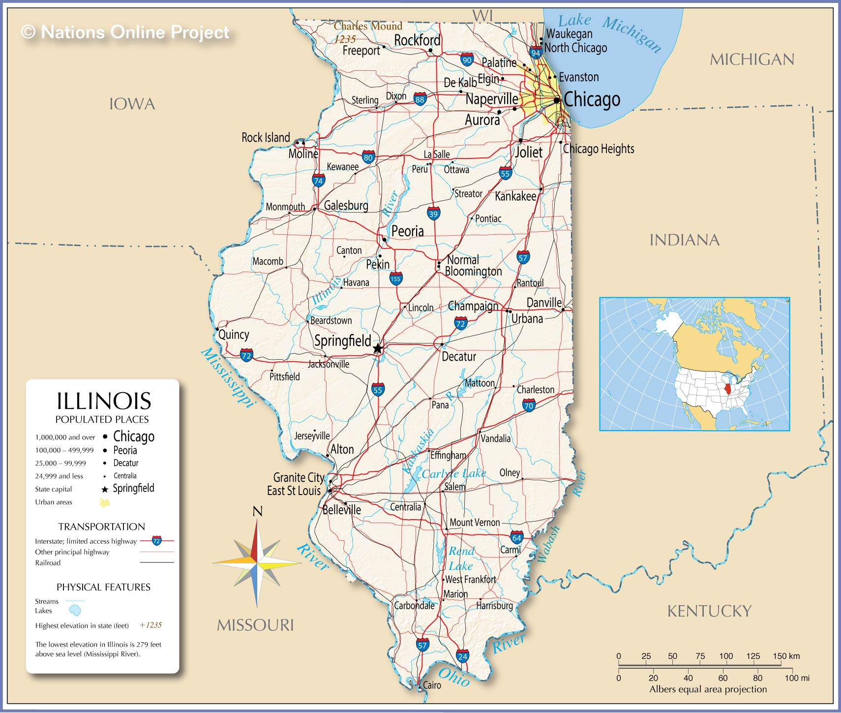 Reference Maps Of Illinois Usa Nations Online Project
