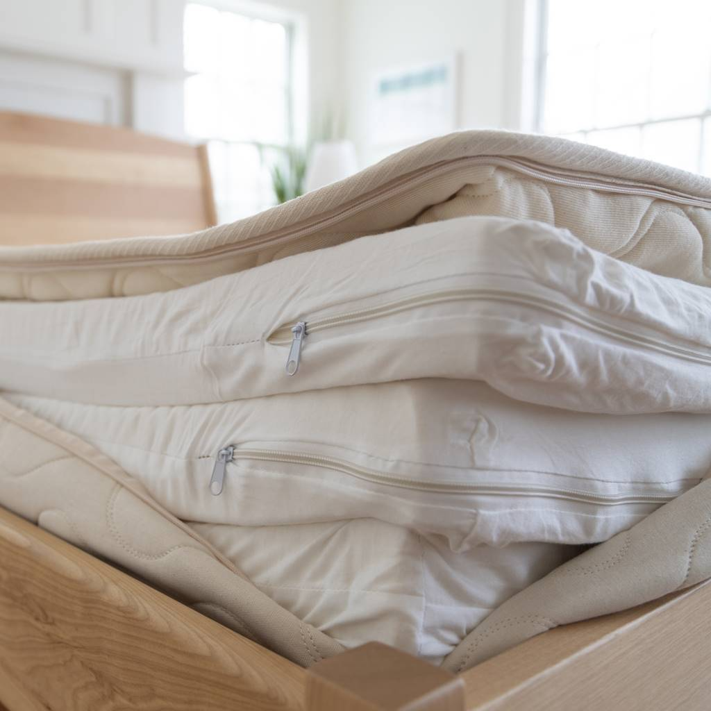 Spindle mattress latex layers