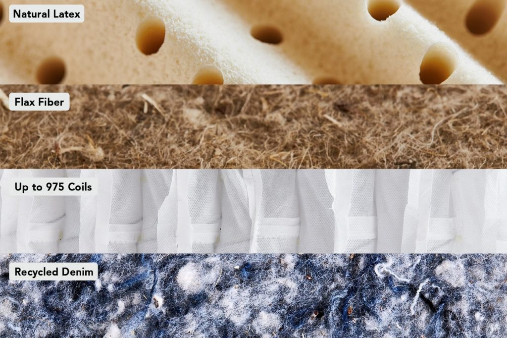 Inside layers: Dunlop latex, flax seed fibre, 8-inch coil layer, recycled denim base layer.