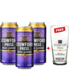 Buy 3 Stowford Press Mixed Berries Cider, Get a Glass Free!