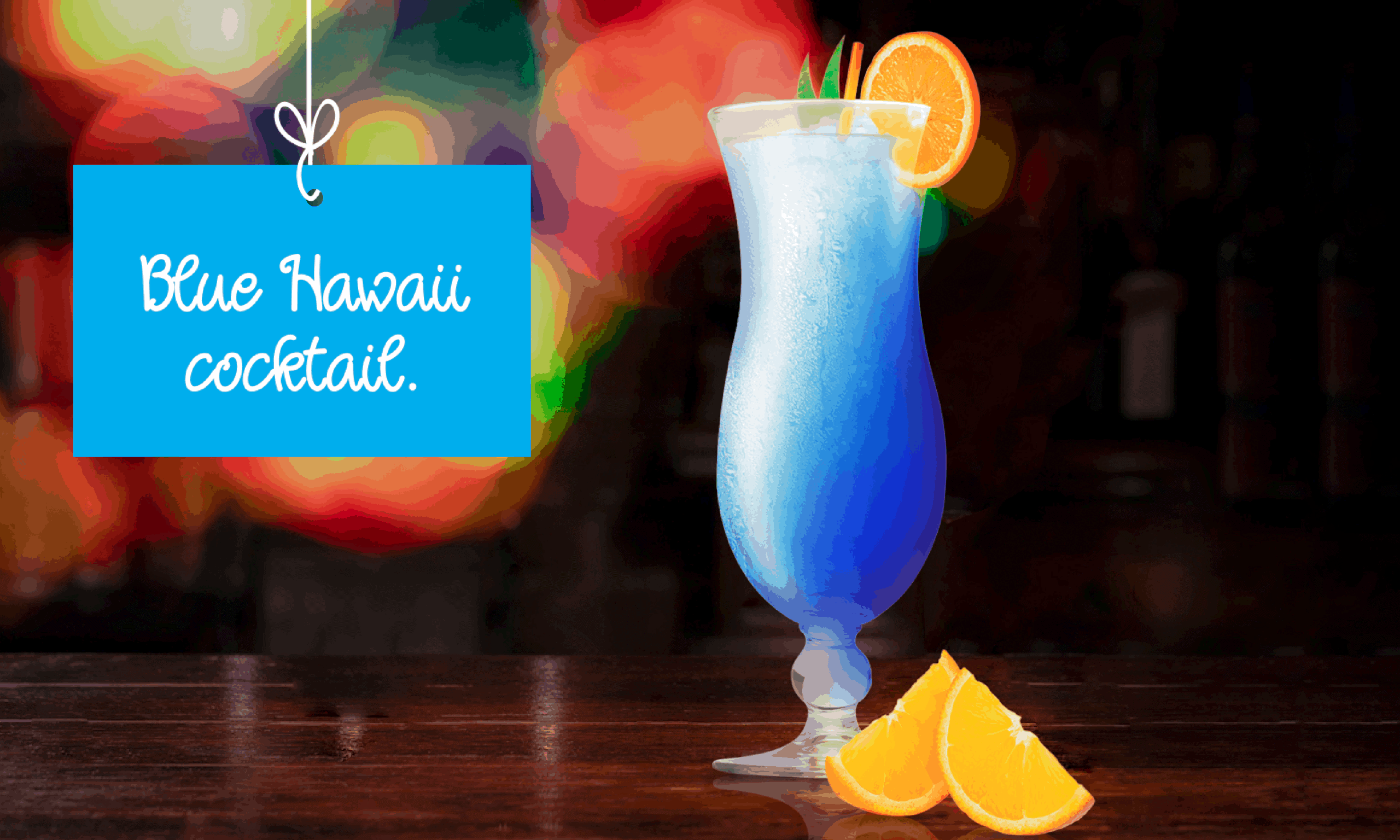Blue Hawaii Cocktail garnished with orange wedge.