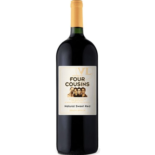 Four Cousins Sweet Red - A fragrant, ruby-red wine with soft rose petal perfume. Flavours of ripe plums, strawberries, and exotic spices are followed by a soft, lingering finish. A sweet red wine, blended from noble cultivars and grape juice.