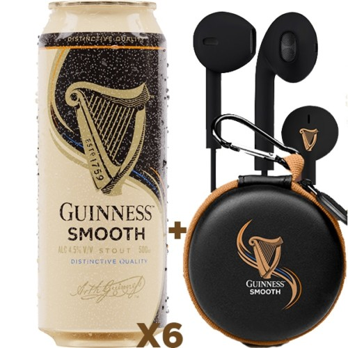 6x Guinness Smooth + Free Earphones!