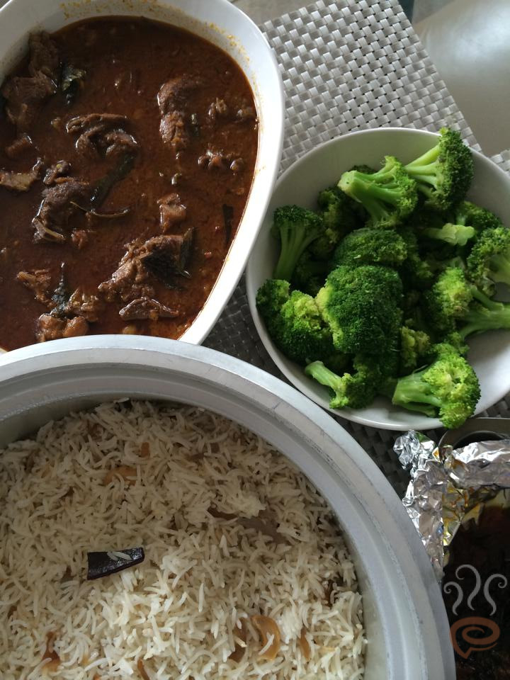 Ghee Rice and Mutton Curry