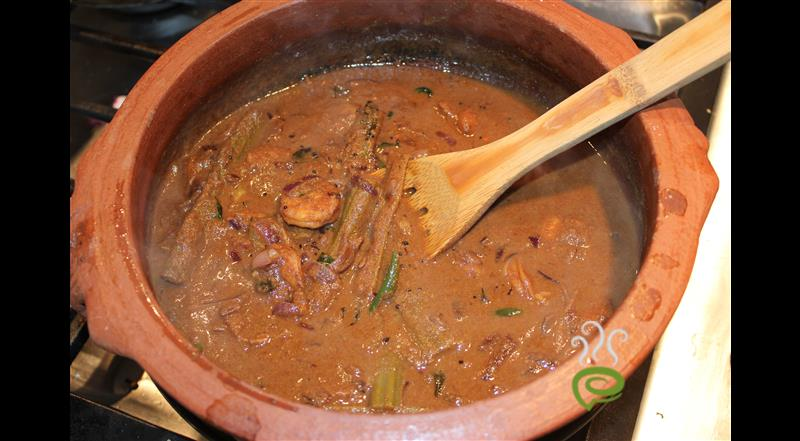 Chemmeen Theeyal In Traditional Style With Muringakka