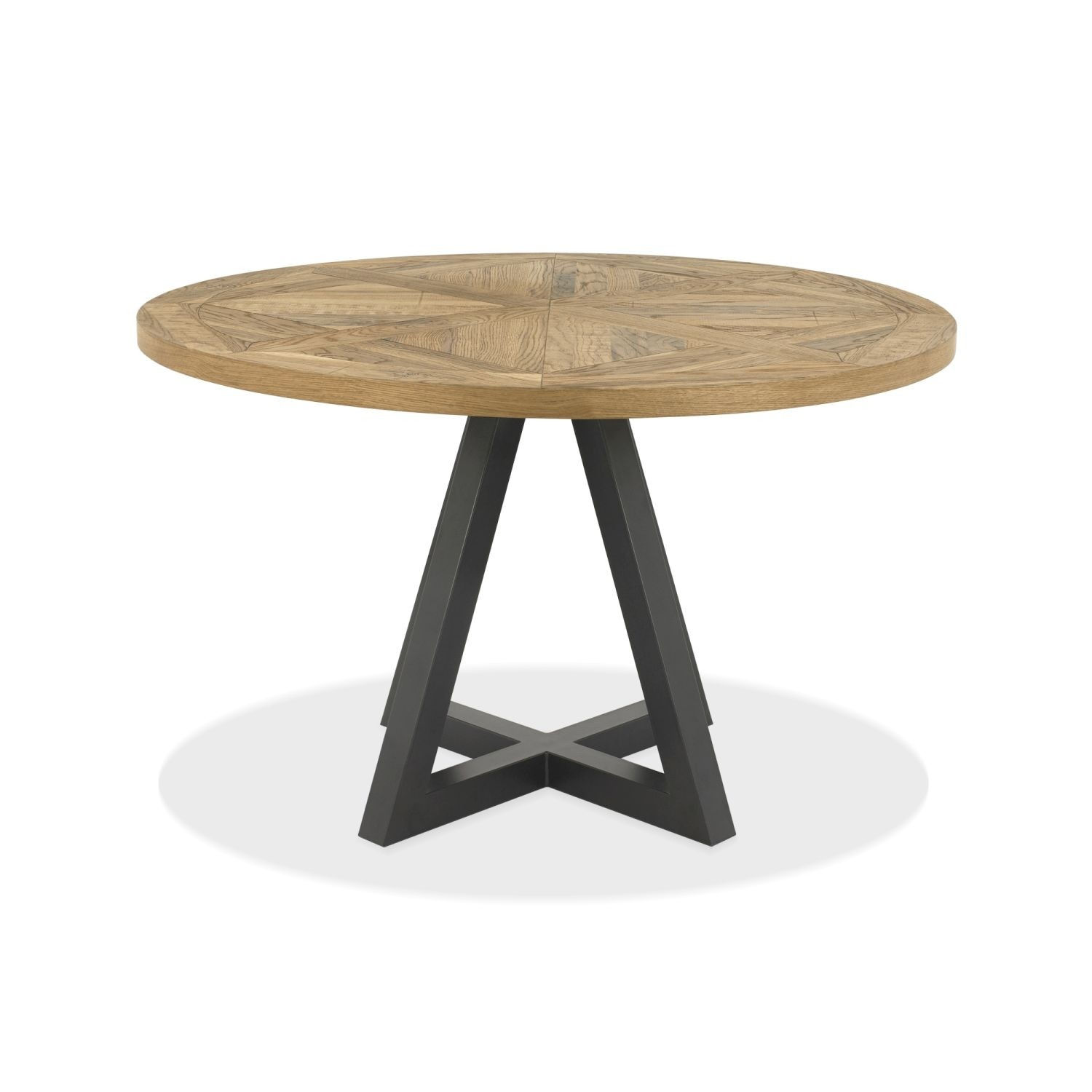 Finsbury Round Dining Table Rustic Oak Peppercorn