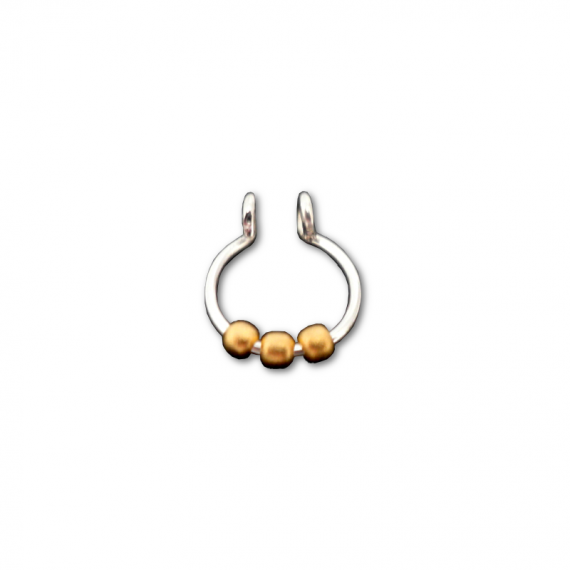 sterling silver fake septum with three gold beads