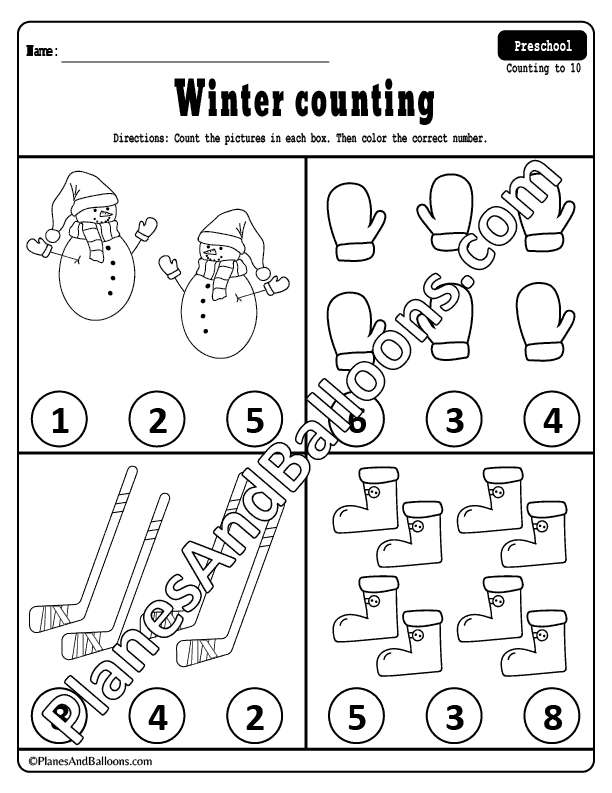 Winter Counting Worksheets - Planes & Balloons Let's Make Learning Fun!