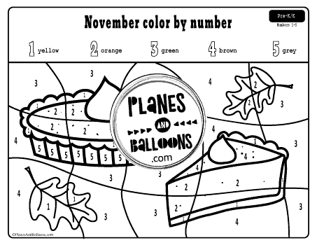Thanksgiving Color By Number And Shape Worksheets Planes Balloons Let S Make Learning Fun