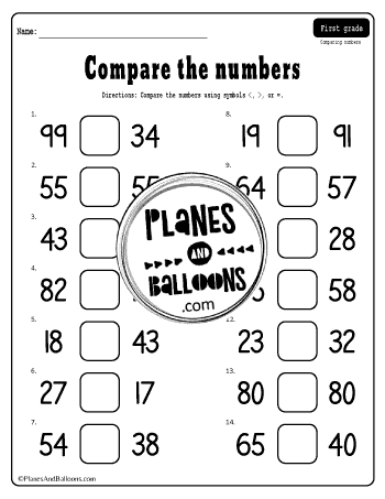 Comparing Numbers Worksheets First Grade Free Printable Pdf Planes Balloons Let S Make Learning Fun