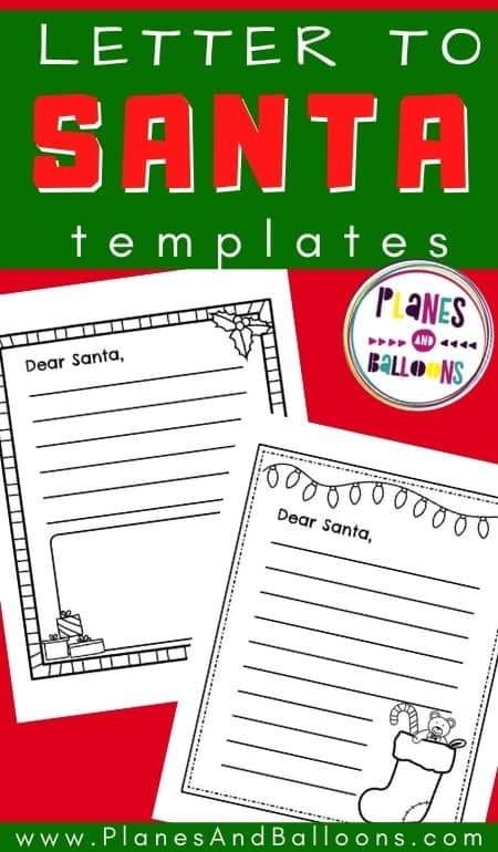 Letter To Santa Template Black And White Free Planes Balloons Let S Make Learning Fun
