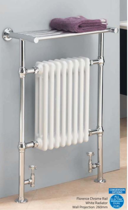 Florence Chrome Rail and White Radiator with Shelf