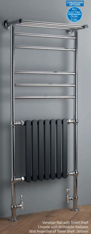 Venetian Rail with Towel Shelf Chrome with Anthracite Radiator