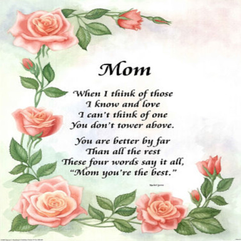 Sunday School Mothers Day Poems 6