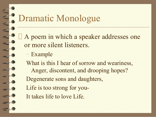 Dramatic Monologues Poems 1