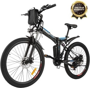 ANCHEER Folding Electric Mountain Bike, 26 Electric Bike with 36V 8Ah Lithium-Ion Battery, Premium Full Suspension and 21 Speed Gears