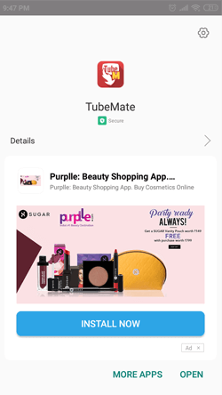 Install TubeMate App on Android Smartphones